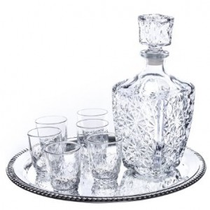 Dedalo 8 Piece Whiskey Set With Round Tray