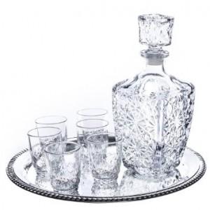 Dedalo 8 Piece Whiskey Set With Round Tray