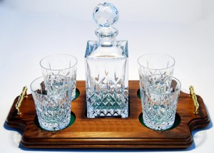 Reed & Barton Hamilton Decanter – Wood Tray Set