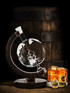 Etched Globe Whiskey Decanter- 1000ml Glass Bourbon Decanter for Liquor, Scotch, Rum 2