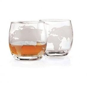 Etched Globe Whiskey Glasses 12 oz