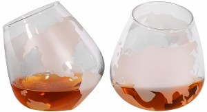 Etched Spinning Rocking Globe Whiskey Glass